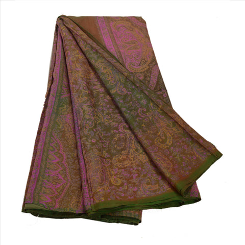 Antique Vintage Floral Printed Saree 100% Pure Silk Craft Fabric Brown Sari - StompMarket