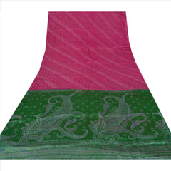 Antique Vintage 100% Pure Silk Saree Pink Floral Printed Sari Craft Fabric - StompMarket