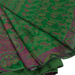 Antique Vintage 100% Pure Silk Saree Green Printed Sari Craft 5 Yard Fabric - StompMarket