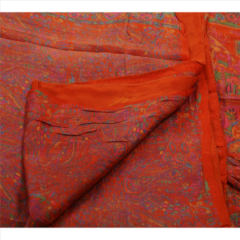 Antique Vintage Indian Floral Printed Saree Silk Blend Craft Fabric Orange Sari