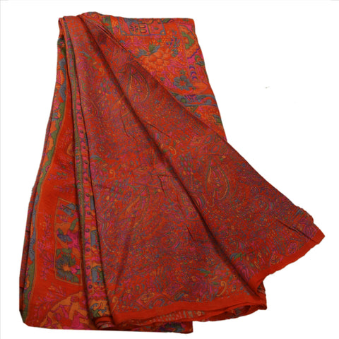 Antique Vintage Indian Floral Printed Saree Silk Blend Craft Fabric Orange Sari - StompMarket