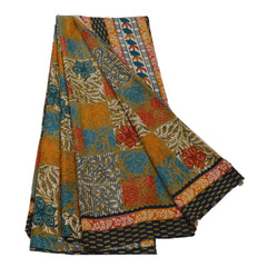 Antique Vintage Floral Printed Saree Satin Silk Craft Fabric Multi Color Sari - StompMarket