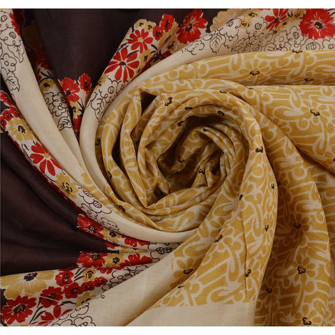 Antique Vintage Floral Printed Saree 100% Pure Silk Craft Fabric Cream Sari - StompMarket