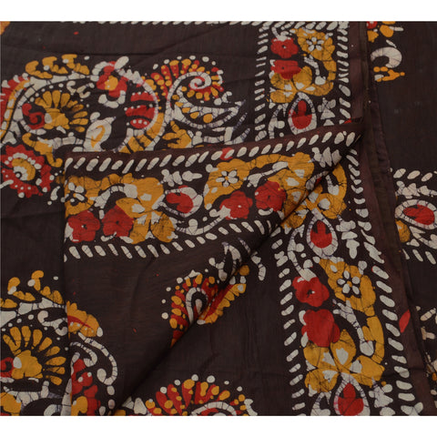 Antique Vintage Printed Saree 100% Pure Cotton Craft Fabric Yellow Batik Sari