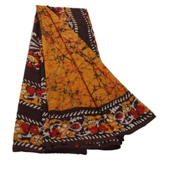 Antique Vintage Printed Saree 100% Pure Cotton Craft Fabric Yellow Batik Sari - StompMarket