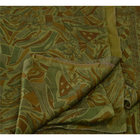 Antique Vintage Indian Printed Saree 100% Pure Silk Craft Fabric Green Sari