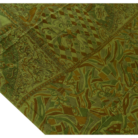 Antique Vintage Indian Printed Saree 100% Pure Silk Craft Fabric Green Sari - StompMarket