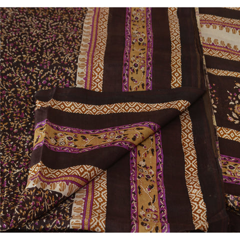 Antique Vintage Indian 100% Pure Silk Saree Dark Brown Printed Sari Craft Fabric