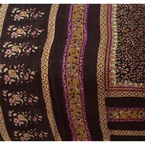 Antique Vintage Indian 100% Pure Silk Saree Dark Brown Printed Sari Craft Fabric - StompMarket