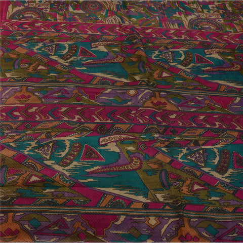 Antique Vintage 100% Pure Silk Saree Multi Color Printed Sari Craft Fabric - StompMarket
