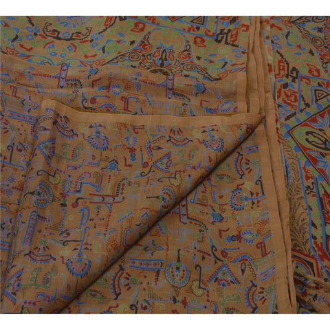 Antique Vintage 100% Pure Silk Saree Brown Printed Sari Craft 5 Yard Fabric