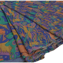 Antique Vintage Indian Printed Saree 100% Pure Silk Craft Fabric Blue Sari - StompMarket