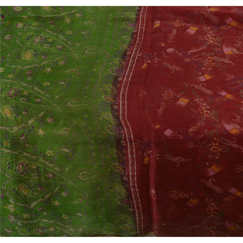 Antique Vintage 100% Pure Silk Saree Dark Red Printed Sari Craft 5 Yard Fabric - StompMarket