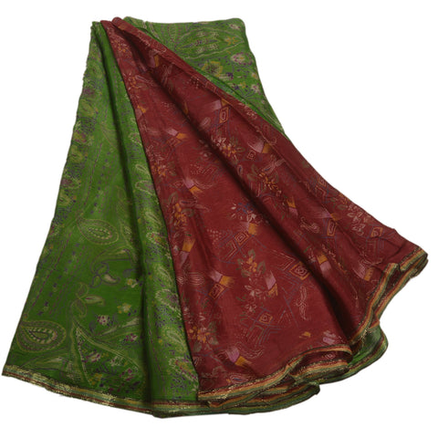 Antique Vintage 100% Pure Silk Saree Dark Red Printed Sari Craft 5 Yard Fabric