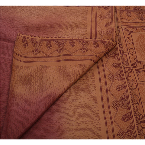 Antique Vintage 100% Pure Silk Saree Peach Floral Printed Sari Craft Fabric