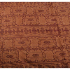 Antique Vintage 100% Pure Silk Saree Peach Floral Printed Sari Craft Fabric - StompMarket