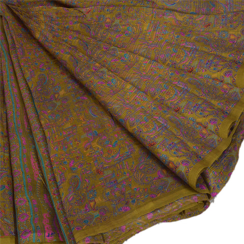 Antique Vintage Indian 100% Pure Silk Saree Green Printed Sari Craft Fabric - StompMarket