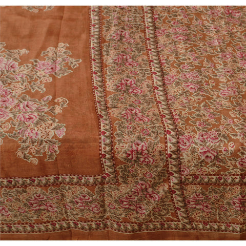Antique Vintage Indian 100% Pure Silk Saree Orange Printed Sari Craft Fabric - StompMarket