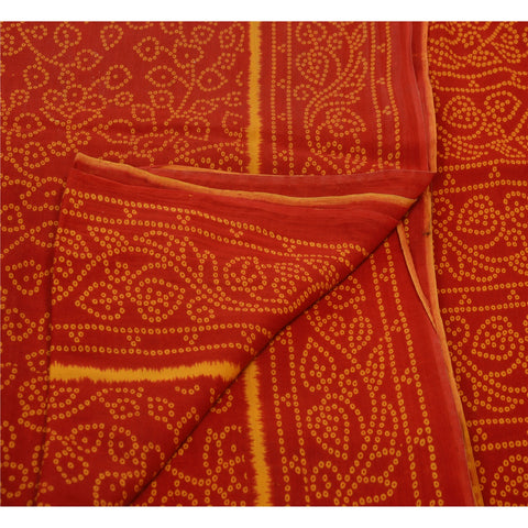 Antique Vintage 100% Pure Cotton Saree Red Floral Printed Sari Craft Fabric