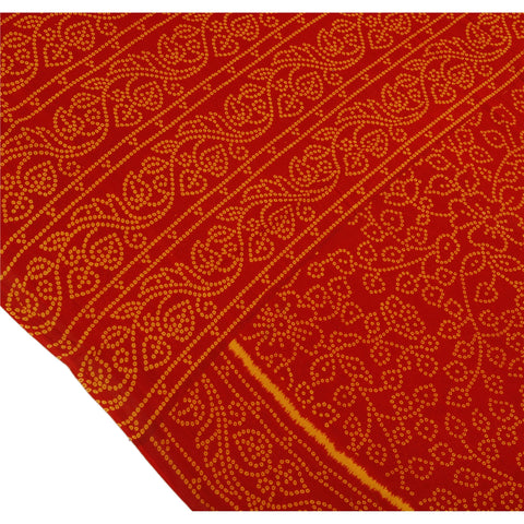 Antique Vintage 100% Pure Cotton Saree Red Floral Printed Sari Craft Fabric - StompMarket