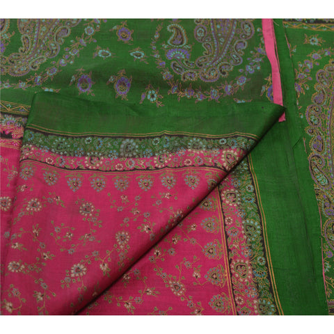 Antique Vintage 100% Pure Silk Saree Pink Printed Sari Craft Decor Fabric