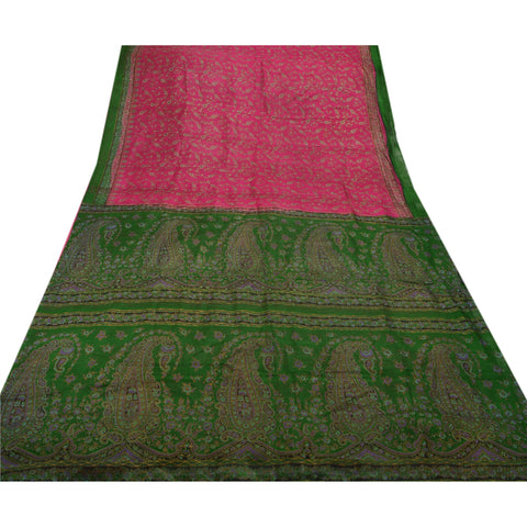 Antique Vintage 100% Pure Silk Saree Pink Printed Sari Craft Decor Fabric - StompMarket
