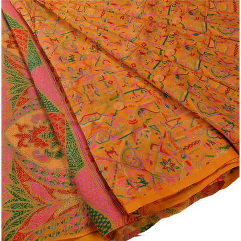 Antique Vintage 100% Pure Silk Saree Yellow Printed Sari Craft 5 Yard Fabric - StompMarket