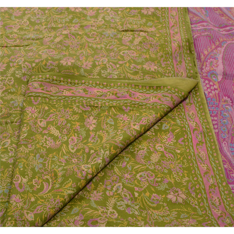 Antique Vintage 100% Pure Silk Saree Green Paisley Printed Sari Craft Fabric