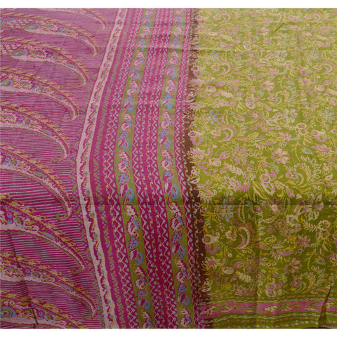 Antique Vintage 100% Pure Silk Saree Green Paisley Printed Sari Craft Fabric - StompMarket