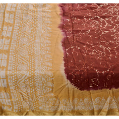 Antique Vintage Printed Saree 100% Pure Silk Craft Dark Red Fabric Batik Sari - StompMarket