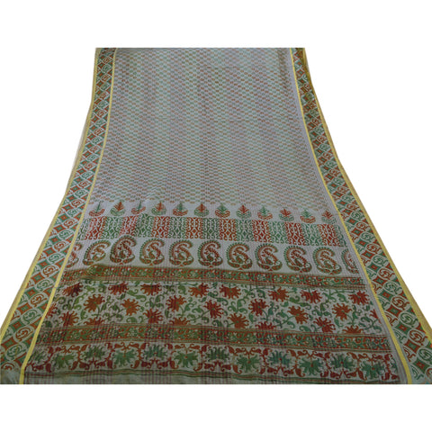 Antique Vintage Art Silk Saree Grey Painted Sari Craft Decor 5 Yard Fabric - StompMarket