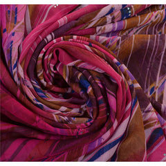 Antique Vintage 100% Pure Silk Saree Pink Abstract Printed Sari Craft Fabric - StompMarket