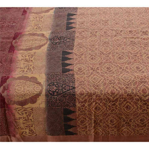 Antique Vintage 100% Pure Silk Saree Brown Printed Sari Craft 5 Yard Fabric - StompMarket