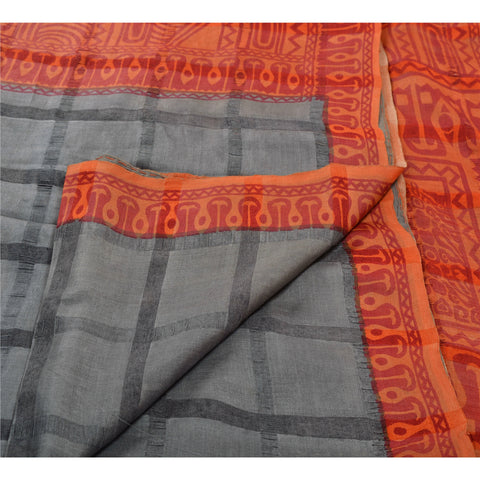 Antique Vintage 100% Pure Silk Saree Grey Printed Sari Craft 5 Yard Fabric