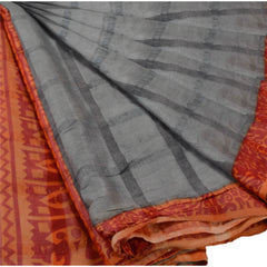 Antique Vintage 100% Pure Silk Saree Grey Printed Sari Craft 5 Yard Fabric - StompMarket