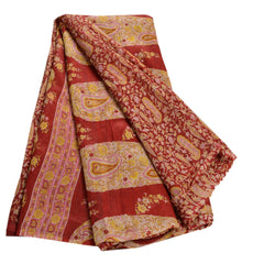 Antique Vintage 100% Pure Silk Saree Dark Red Printed Sari Craft Decor Fabric - StompMarket