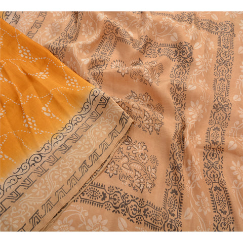 Antique Vintage 100% Pure Silk Saree Yellow Printed Sari Craft Decor Fabric