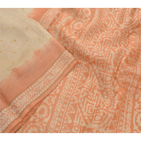 Antique Vintage Printed Saree 100% Pure Silk Craft Cream Fabric Batik Sari