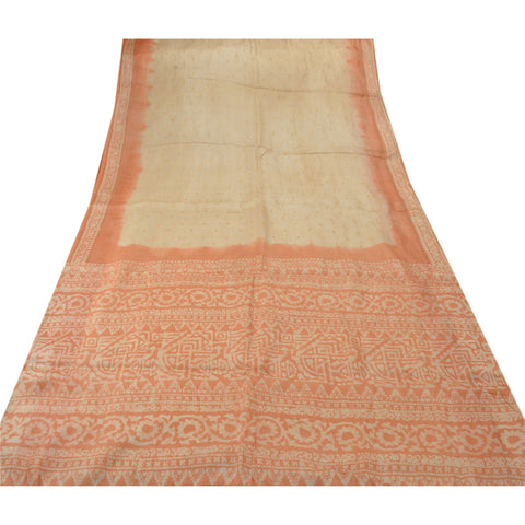 Antique Vintage Printed Saree 100% Pure Silk Craft Cream Fabric Batik Sari - StompMarket