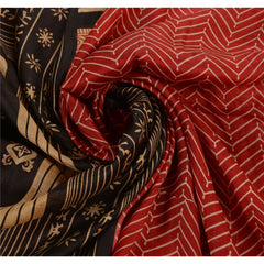Antique Vintage Indian 100% Pure Silk Saree Red Printed Sari Craft 5 Yard Fabric - StompMarket