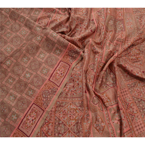 Antique Vintage 100% Pure Silk Saree Pink Floral Printed Sari Craft Fabric