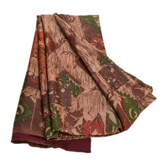 Antique Vintage 100% Pure Silk Saree Brown Printed Sari Craft Decor Fabric - StompMarket