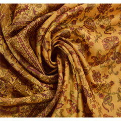 Antique Vintage Printed Saree 100% Pure Silk Craft Cream Fabric Zari Border Sari - StompMarket