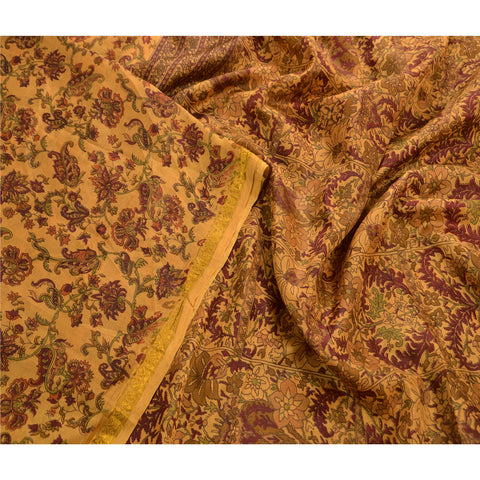 Antique Vintage Printed Saree 100% Pure Silk Craft Cream Fabric Zari Border Sari