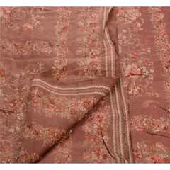 Antique Vintage Indian Silk Blend Saree Pink Printed Sari Craft Decor Fabric - StompMarket