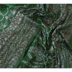 Antique Vintage 100% Pure Silk Saree Green Floral Printed Sari Craft Fabric - StompMarket