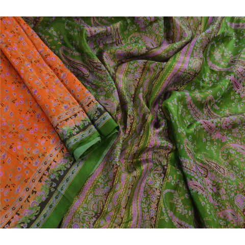 Antique Vintage 100% Pure Silk Saree Orange Paisley Printed Sari Craft Fabric - StompMarket