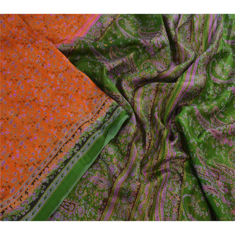 Antique Vintage 100% Pure Silk Saree Orange Paisley Printed Sari Craft Fabric