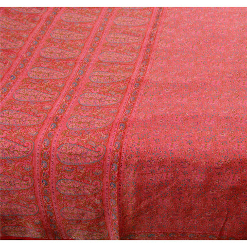Antique Vintage 100% Pure Silk Saree Pink Printed Sari Craft 5 Yard Fabric - StompMarket