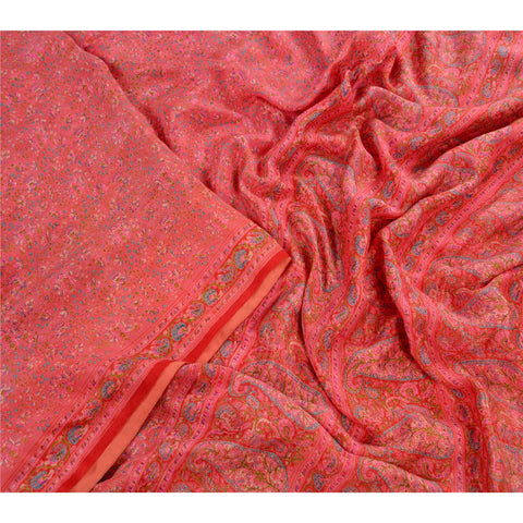 Antique Vintage 100% Pure Silk Saree Pink Printed Sari Craft 5 Yard Fabric